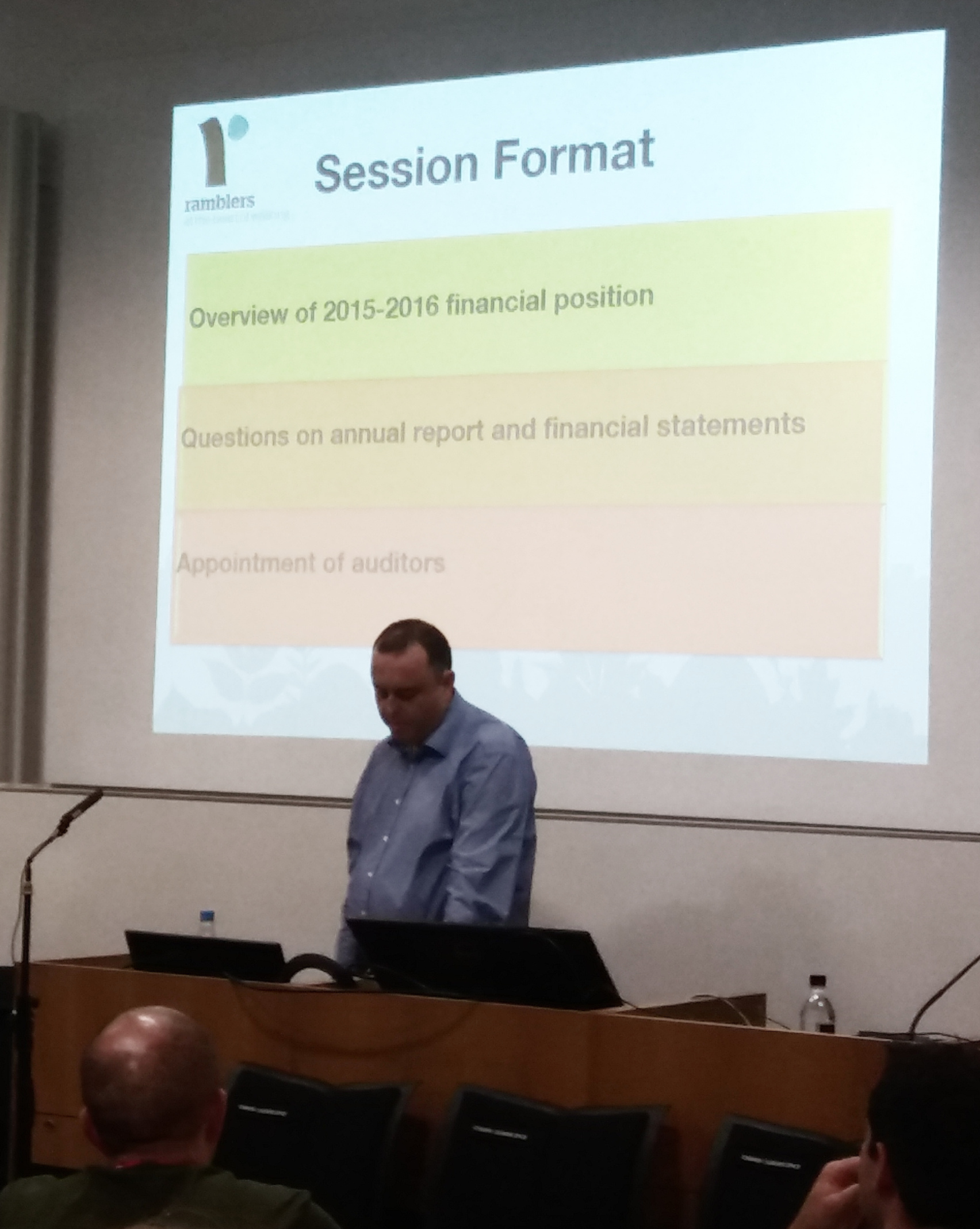 Alex Mannings presenting the Annual Accounts at GC2017